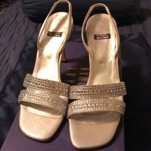 Stuart Weitzman silver lame dress shoes